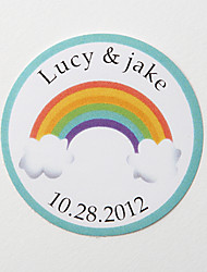 Personalized Round Favor Stickers – Rainbow (Set of 36)