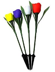 Energía Solar LED de luz blanca Flor recargable Tulip Garden Path lámpara (4-Pack)