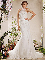 Mermaid / Trumpet High Neck Court Train Satin Tulle Wedding Dress with Beading by LAN TING BRIDE®