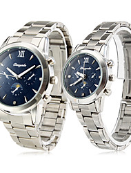 Pair of Blue Starry Sky Alloy Analog Quartz Couple's Watches (Silver)