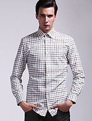 Men's Plaids Work Shirt Long Sleeve