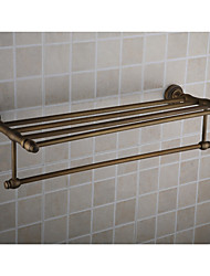 Antique Brass Wall-mounted Bathroom Shelf With Towel Bar