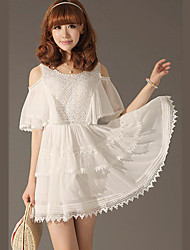 Attractive Lady White Party Dress