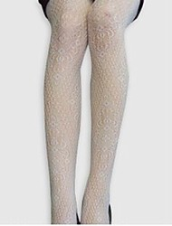 White Lace Patterned Spandex Tights
