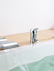 Bathtub Faucet - Contemporary - Waterfall / Handshower Included Chrome)