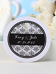 Personalized Favor Tag - Black Floral Print (Set of 36)