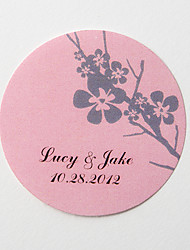 Personalized Round Favor Stickers – Silvery Plum Blossom (Set of 36)
