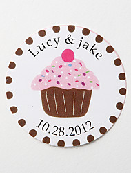 Personalized Round Favor Stickers – Pink Cake (Set of 36)