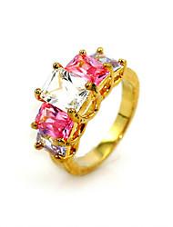 cubic zirconia platinato piazza cut forma di anello di moda