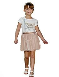 Girls' Ruffle Dress With Pearl Chain