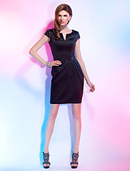 TS Couture® Cocktail Party Dress - Little Black Dress Plus Size / Petite Sheath / Column Notched Short / Mini Satin with Beading / Crystal Detailing /