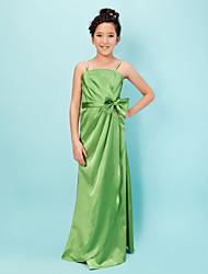 Floor-length Satin Junior Bridesmaid Dress - Sage Sheath/Column Straps
