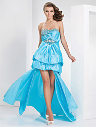 A-line Sweetheart Asymmetrical Taffeta Evening Dress