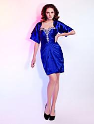 Cocktail Party / Wedding Party Dress - Royal Blue Plus Sizes / Petite Sheath/Column Sweetheart / Strapless Short/Mini Stretch Satin