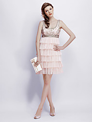 Cocktail Party / Homecoming / Sweet 16 / Holiday Dress - 1920s A-line / Princess Square Short / Mini Chiffon / Tulle / Charmeuse with