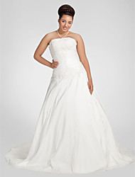 LAN TING BRIDE Plus Size A-line Wedding Dress - Chapel Train Strapless Taffeta with Appliques Beading Ruche