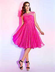 A-Line Princess Jewel Neck Knee Length Chiffon Homecoming Dress with Beading Draping Lace by TS Couture®
