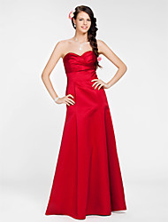 Lanting Bride® Floor-length Satin Bridesmaid Dress - A-line / Princess Strapless / Sweetheart Plus Size / Petite withSash / Ribbon /