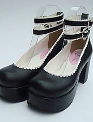 negro pu leahter plataforma de 8 cm clásicos zapatos de lolita