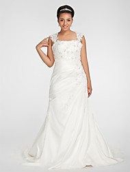 Lanting Bride Trumpet/Mermaid Petite / Plus Sizes Wedding Dress-Chapel Train Square Chiffon