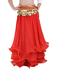 Belly Dance Skirts Women's Performance Chiffon Ruffles Blue / Red Belly Dance / Performance Spring, Fall, Winter, Summer Dropped
