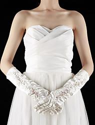 Elbow Length Fingertips Glove Satin/Lace Bridal Gloves