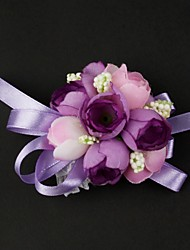 Wedding Flowers Free-form Wrist Corsages Wedding Yellow / Fuchsia / Green / Purple Satin / Cotton Yellow / Fuchsia / Green / Purple