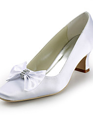 Satin Chunky Heel Square Toe With Bowknot / Rhinestone Wedding Shoes (More Colors)