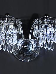 4 - Licht Edelstahl LED-Wand-Leuchten mit Kristall-Tropfen