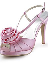Women's Shoes Silk Stiletto Heel Heels / Peep Toe Heels Wedding / Party & Evening / Dress Pink