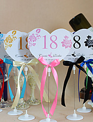 Place Cards and Holders Flower Heart Shape Table Number Cards With Holders - Set Of 10(More Colors)