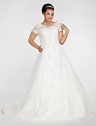 Ball Gown Plus Sizes Wedding Dress - Ivory Chapel Train Off-the-shoulder Organza