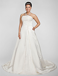 A-line Princess Strapless Chapel Train Satin Wedding Dress with Beading Appliques by LAN TING BRIDE®