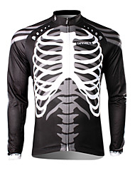 SPAKCT Men's  Cycling Jersey Long Sleeve Black Skull