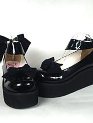 6.5cm de charol negro zapatos de tacón alto Sweet Lolita con arco