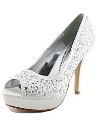 zapatos de mujer peep bombas de tacón de aguja de satén del dedo del pie con zapatos de boda Rhinestone