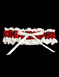 Garter Satin Bowknot Red