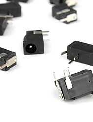 M0080 1.0mm 3-Pin DC Power Jack Connector-Black Silver (100-Piece Pack)