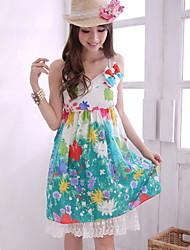 Spitze V-Ausschnitt Baumwolle Sommerkleid