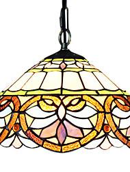 Lustre Pendente Tiffany com Vidro e Padrões de Coração