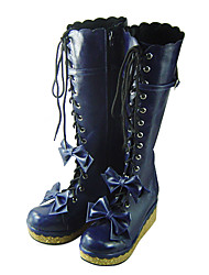 Handmade Ink Blue PU Leather 7cm Platform Sweet Lolita Boots with Bow