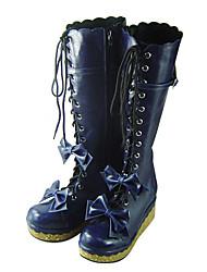 Schuhe Niedlich Handgemacht Plattform Schuhe Schleife 7 CM Blau Für Damen PU - Leder/Polyurethan Leder