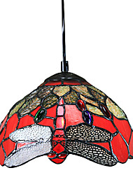 Tiffany Pendant Light with 1 Light Red Dragonfly Pattern