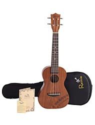 Rainie - (C40) ad alta grande solido concerto ukulele acacia koa con gig bag / sintonizzatore