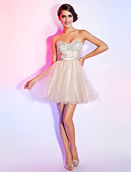 Heimkehr-Cocktailparty / sweet 16 / Prom / Homecoming Kleid - white a-line Liebsten / strapless kurz / Mini Organza