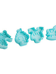 Fondant Cake DIY Decorating Plunger Cutter Tools Hobbyhorse Baby Carriage Feeding Bottle Theme (4-Pack)