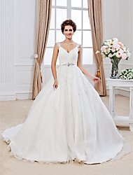 Ball Gown V-neck Chapel Train Organza Wedding Dress with Beading Appliques by LAN TING BRIDE®