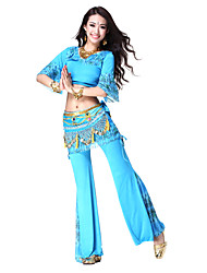 Dancewear Viscose/Chiffon Belly Dance Top/Belt And Pant For Ladies