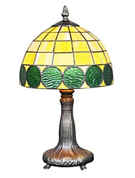 60W Tiffany Glass Table Light with Green Fringe