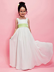 A-line Princess Floor-length Flower Girl Dress - Chiffon Square with Draping Sash / Ribbon